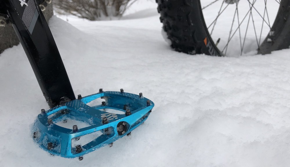The iSSi Thump XL pedals can hang onto your boots in just about anything, including deep, slippery snow.