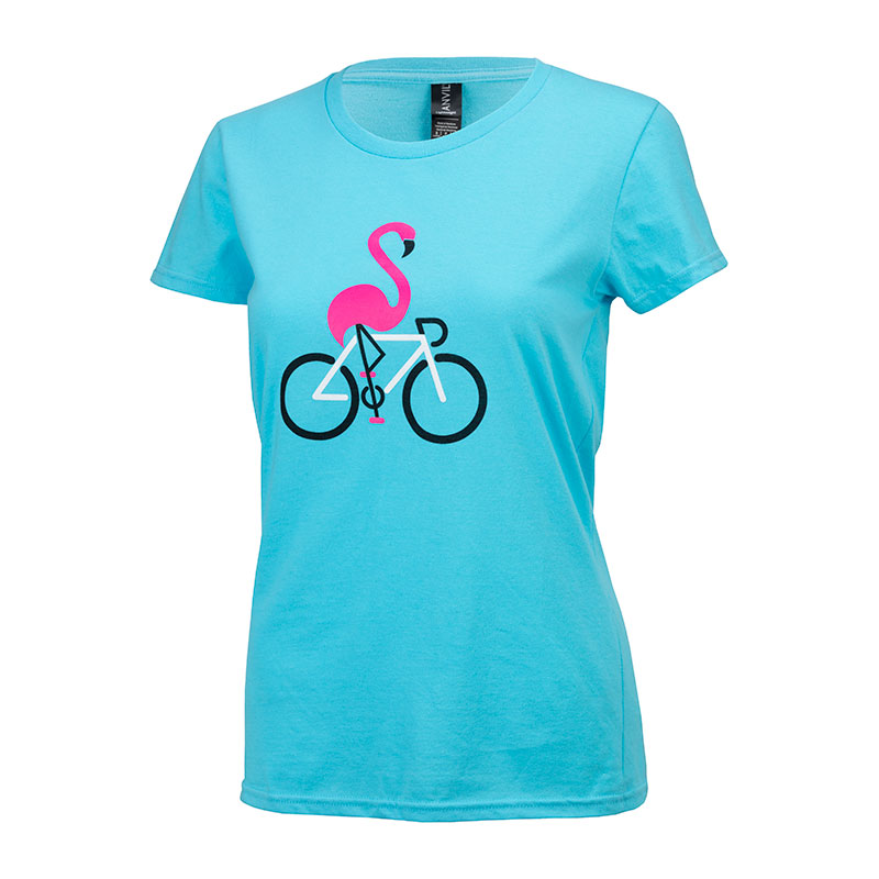 Women's Flamingo T-Shirt - Blue/Pink