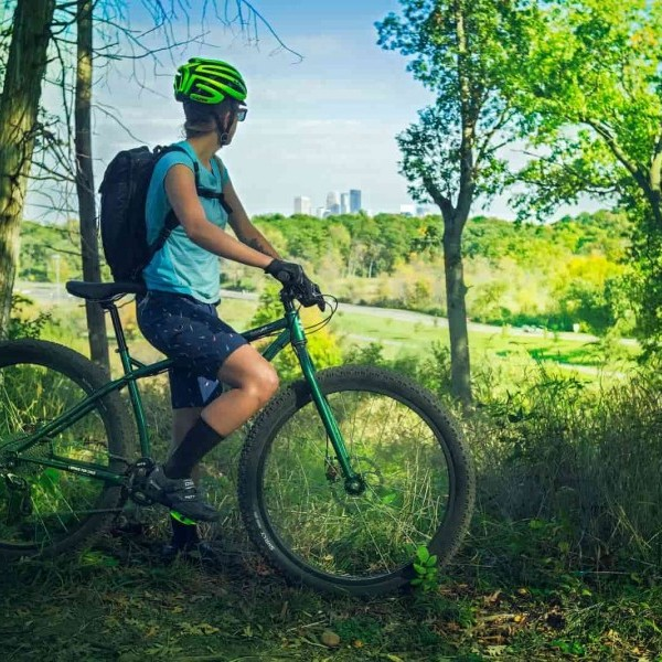 Green iSSI Trail pedals on a green Surly Krampus